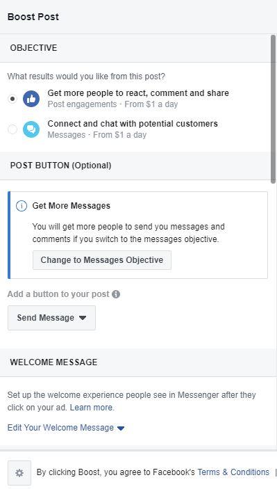 Facebook Boosted Post Setup